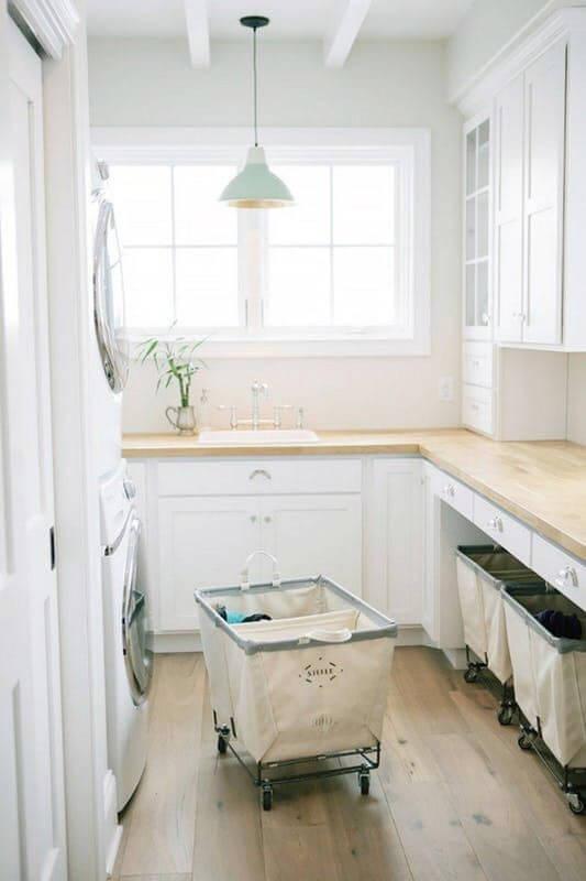 Basement Laundry Room with Wood Floor
