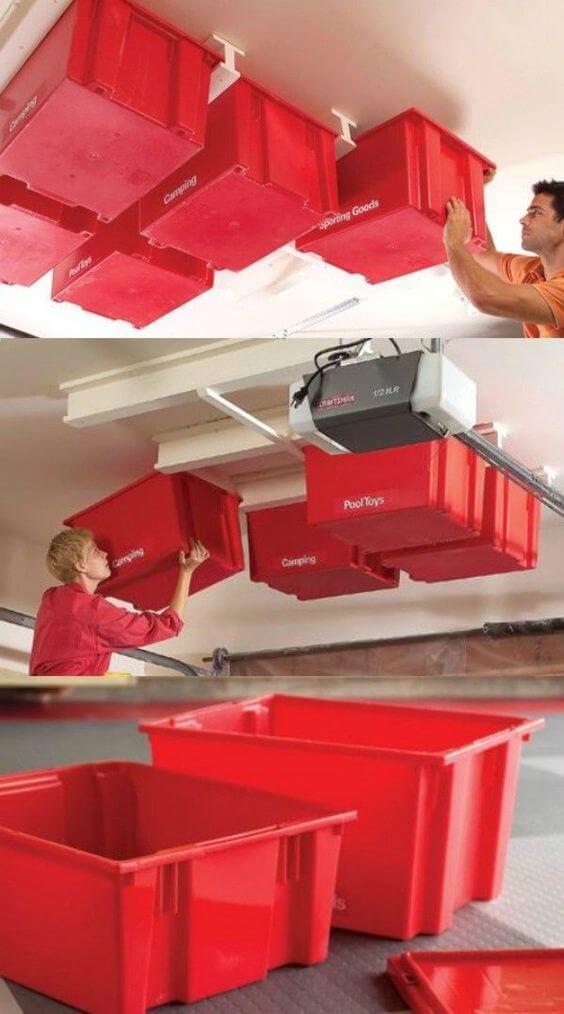 Slide-in Storage System for Overhead Garage