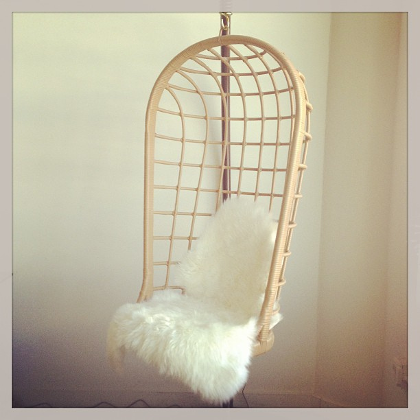 hanging chair faux fur