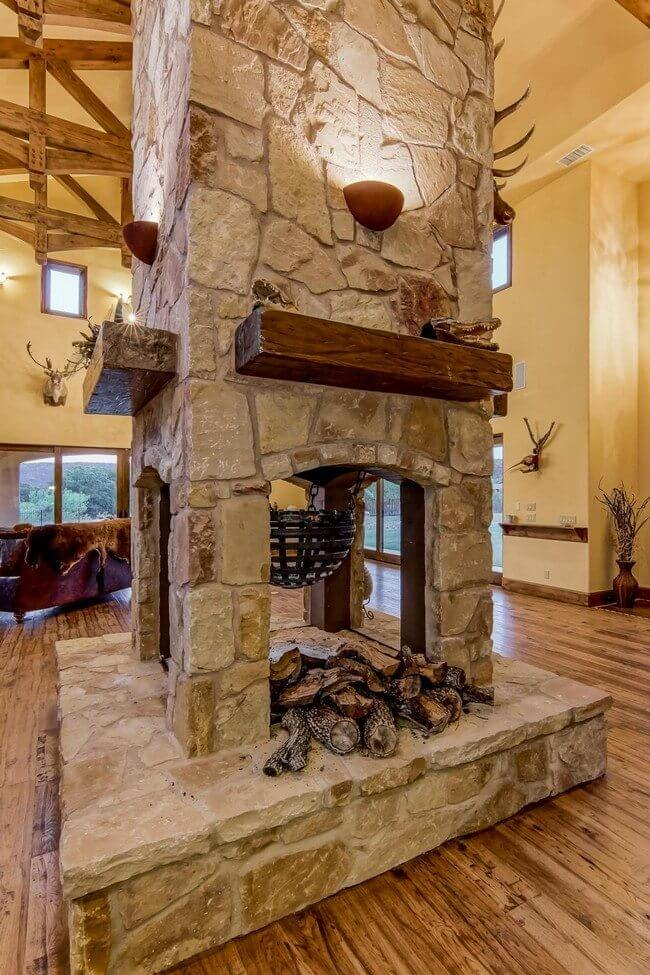double sided fireplace design