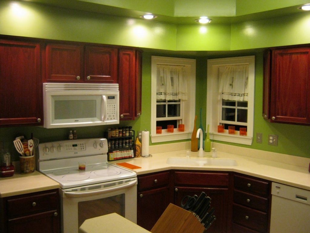 Cherry Kitchen Cabinets Wall Color in Green