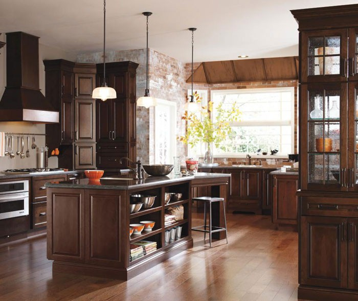Dark Cherry Cabinet Accented with Aged Elements
