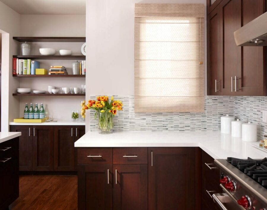 Simple Cherry Kitchen Cabinets