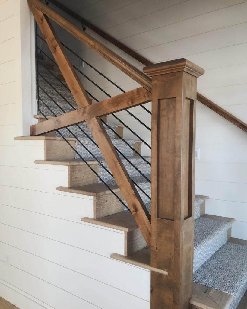 stair railing ideas wood