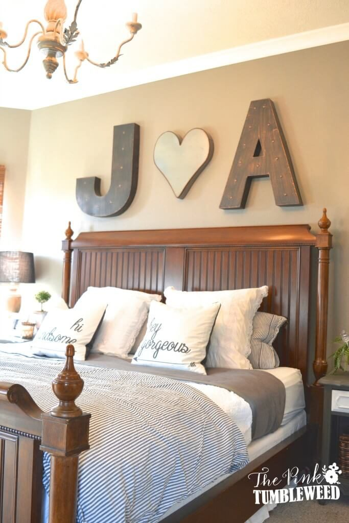 above master bed decor