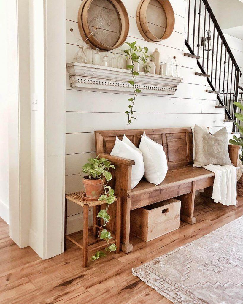 farmhouse bench entryway ideas