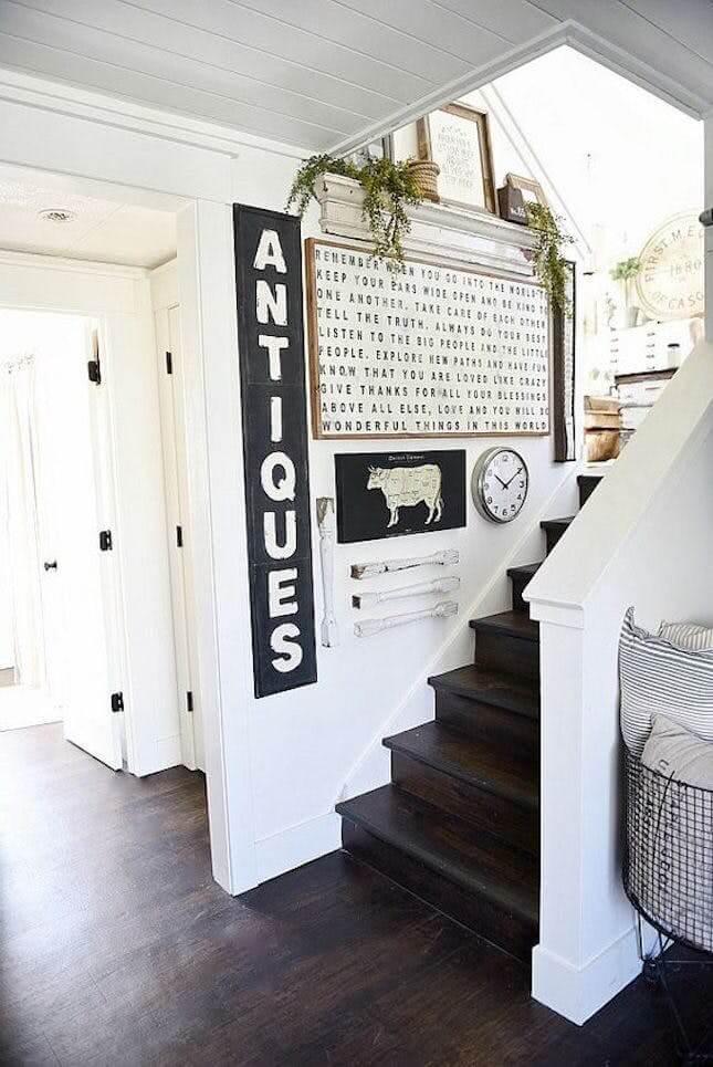 farmhouse staircase wall decor