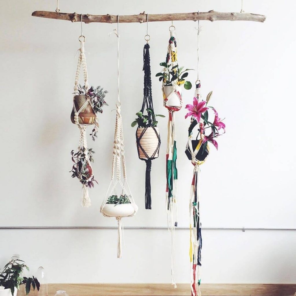hanging planters on wall