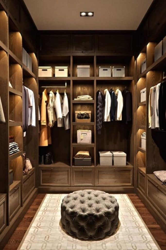 narrow walk in closet ideas