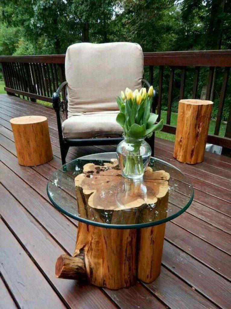 tree stump bench ideas
