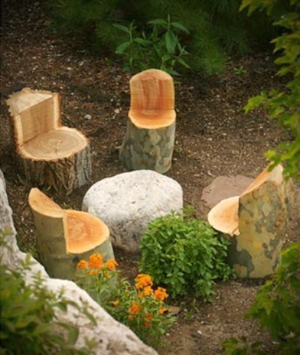 tree stump chair ideas