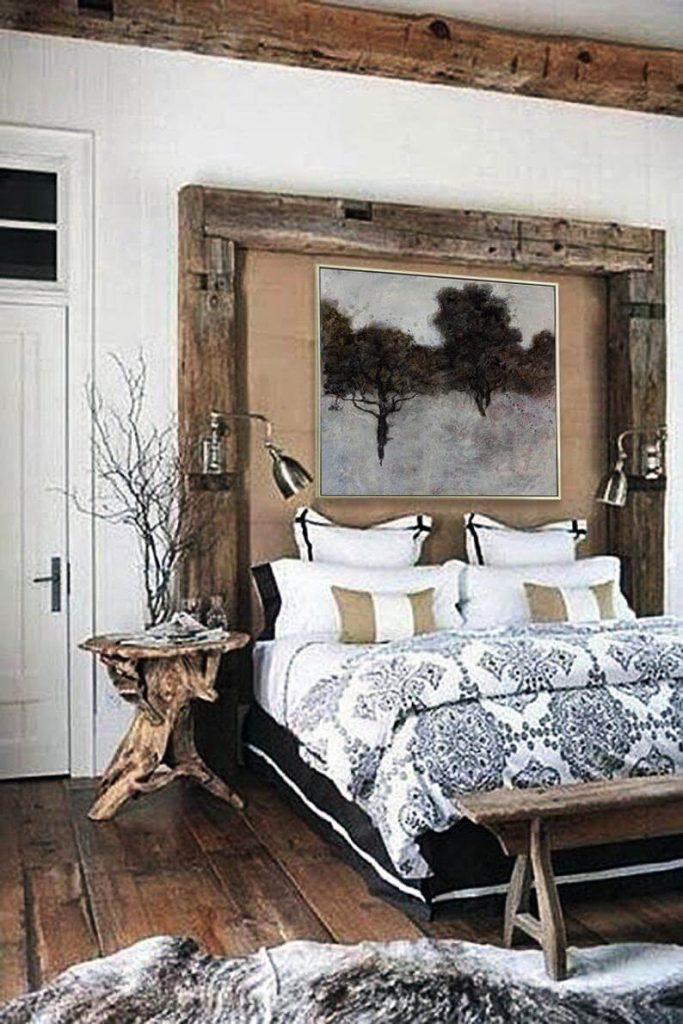 wood headboard and frame