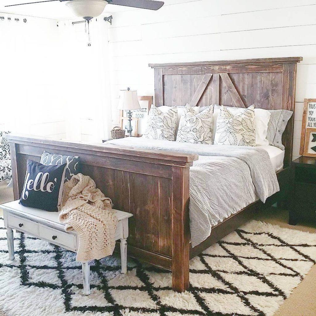 wood headboard bed