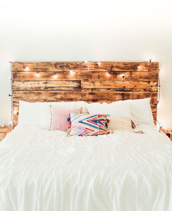 wood headboard with lights