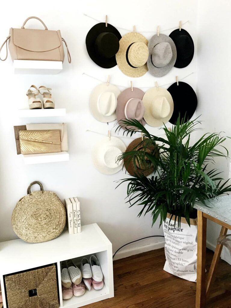 diy hanging hat rack