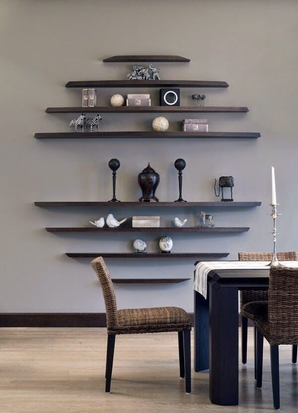 floating shelf ideas for living room