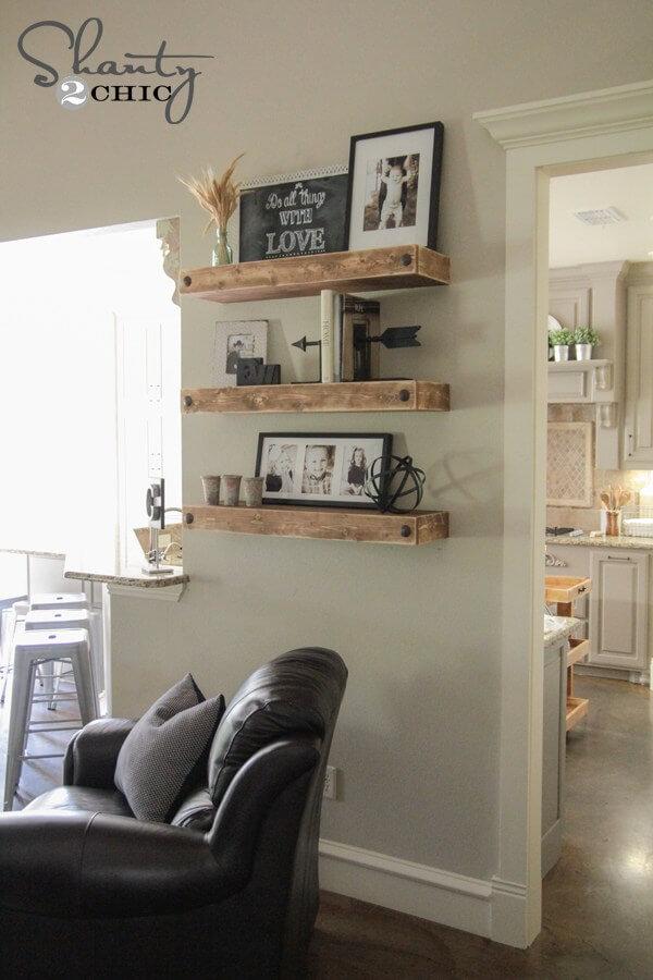 floating shelves ideas living room