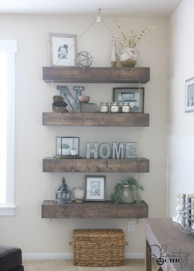 floating wall shelf decorating ideas