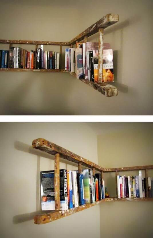 ladder bookshelf decor