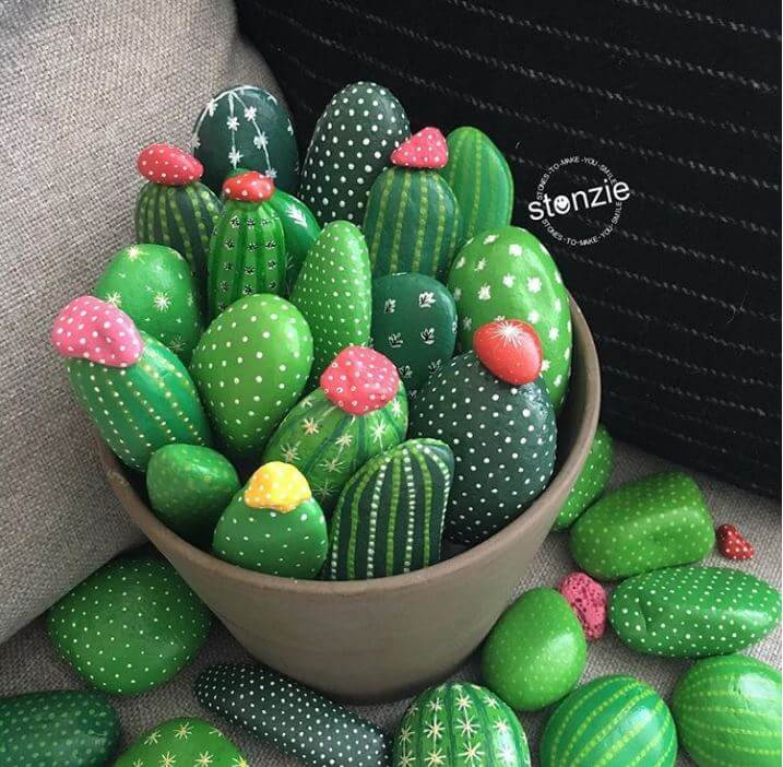 painted rock cactus