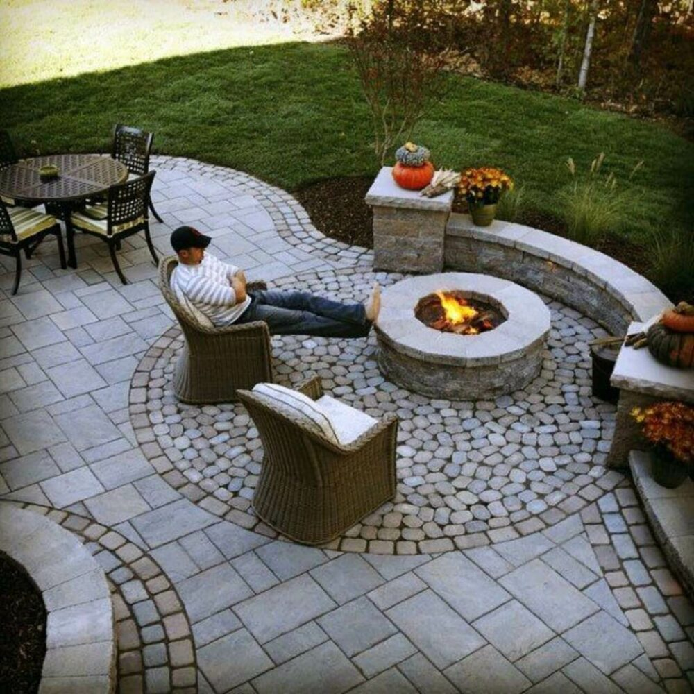 paver patio ideas with fire pit