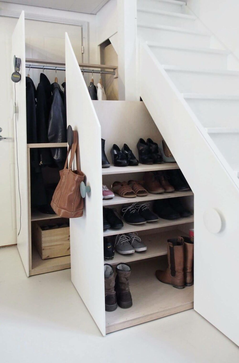 shoe storage under staircase