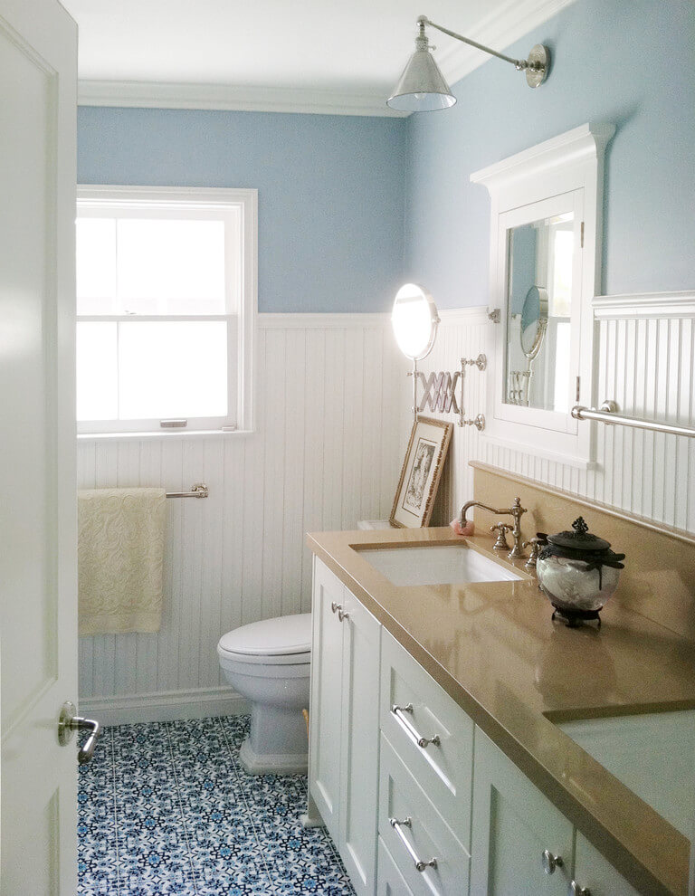 bathroom beadboard wainscoting