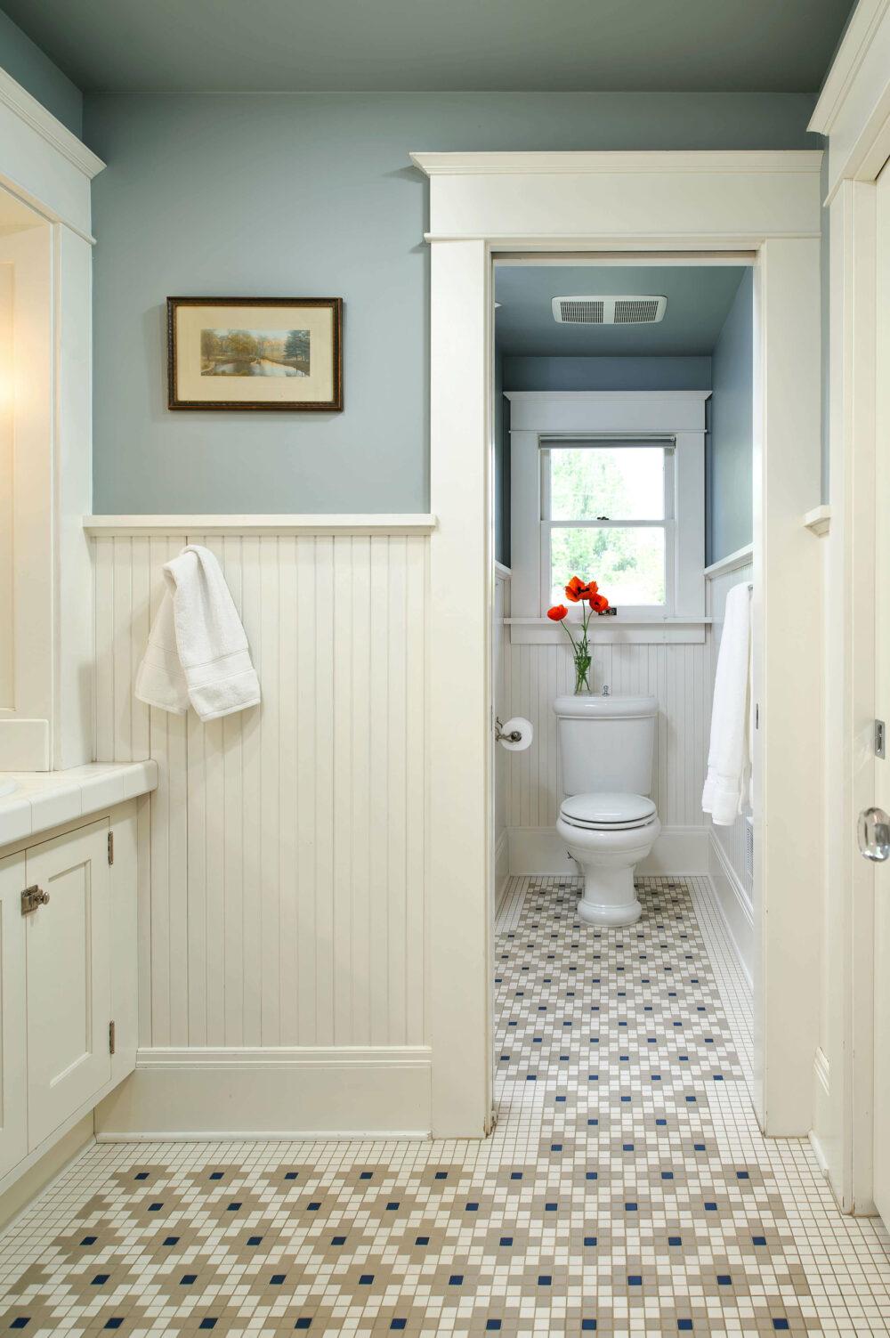 bathroom wainscoting over tile