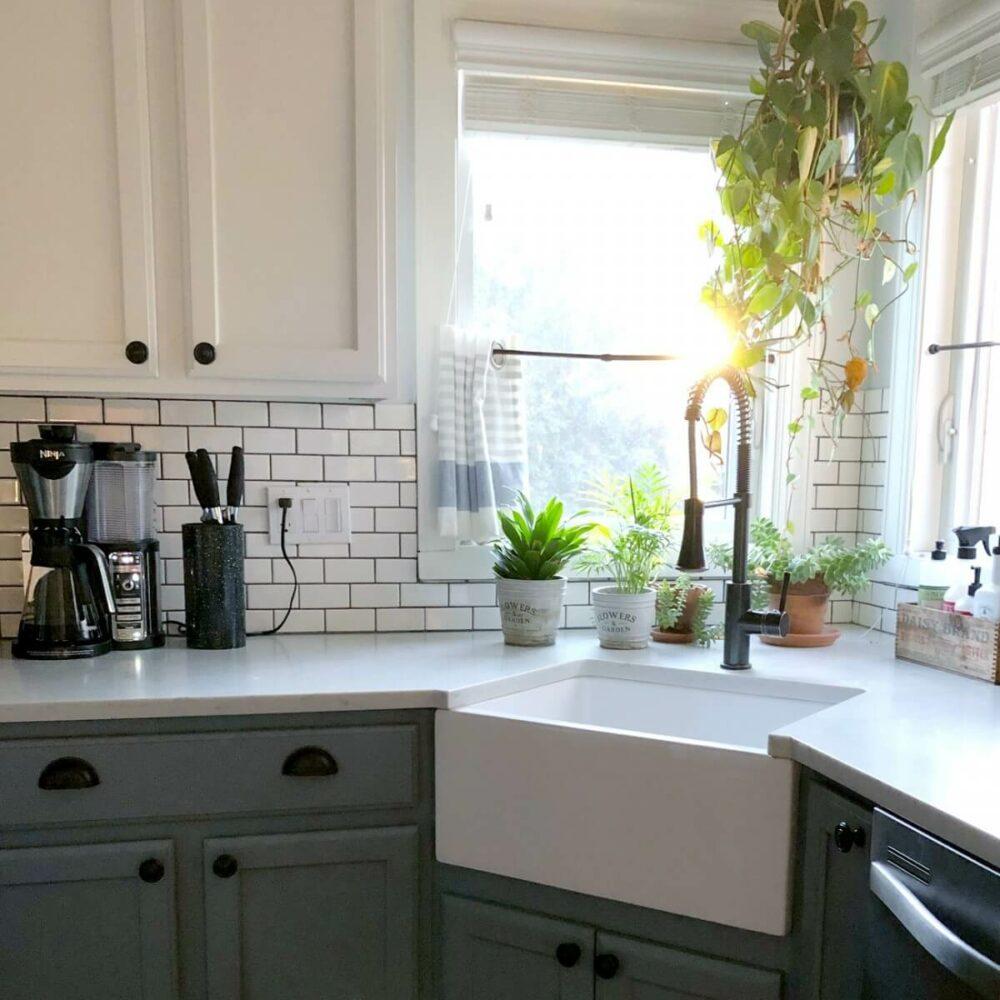 kitchen sink in corner ideas