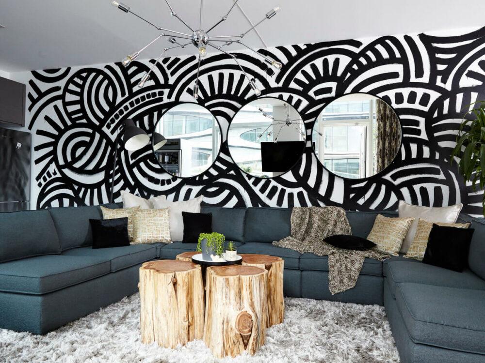 living room wall mural ideas