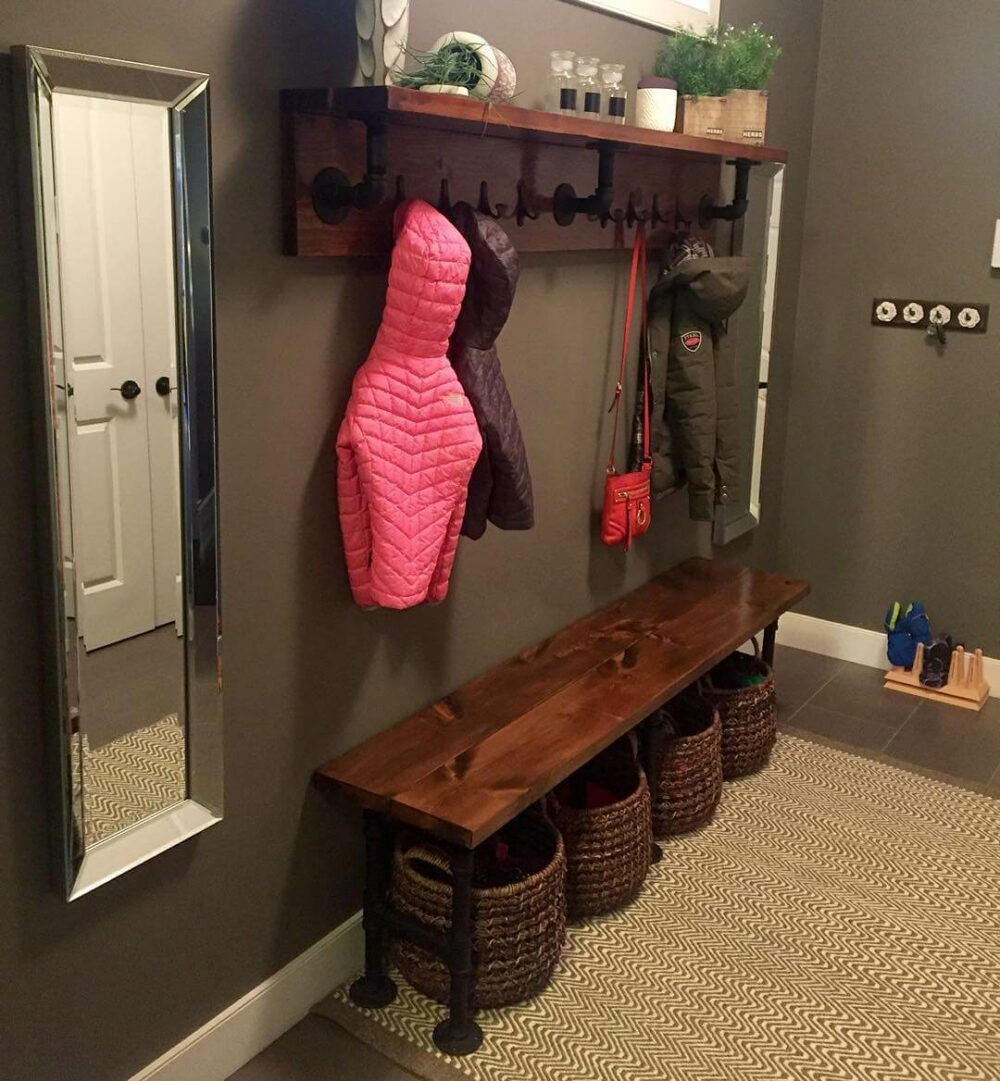 coat rack bench diy