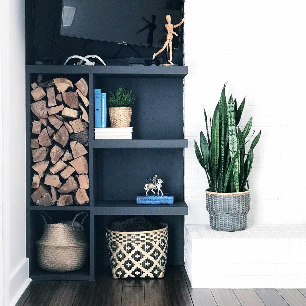 firewood storage wooden box