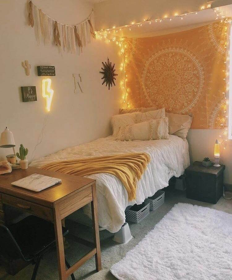 yellow dorm room ideas