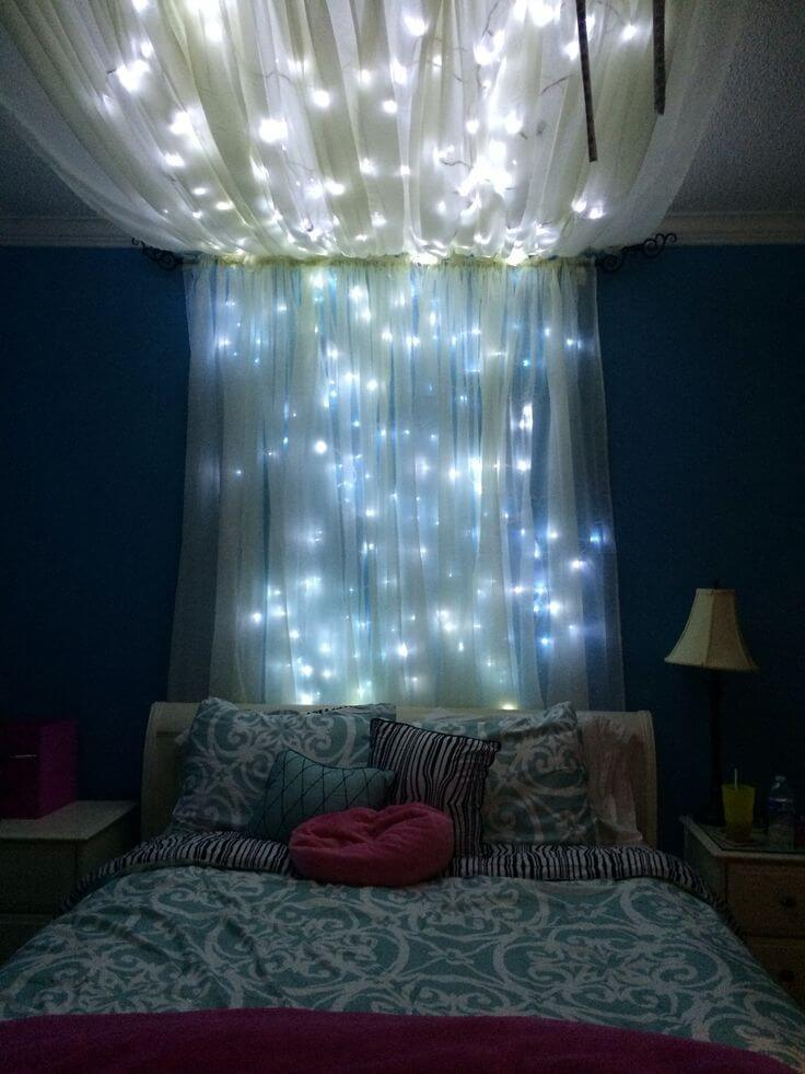 bedroom string lighting ideas