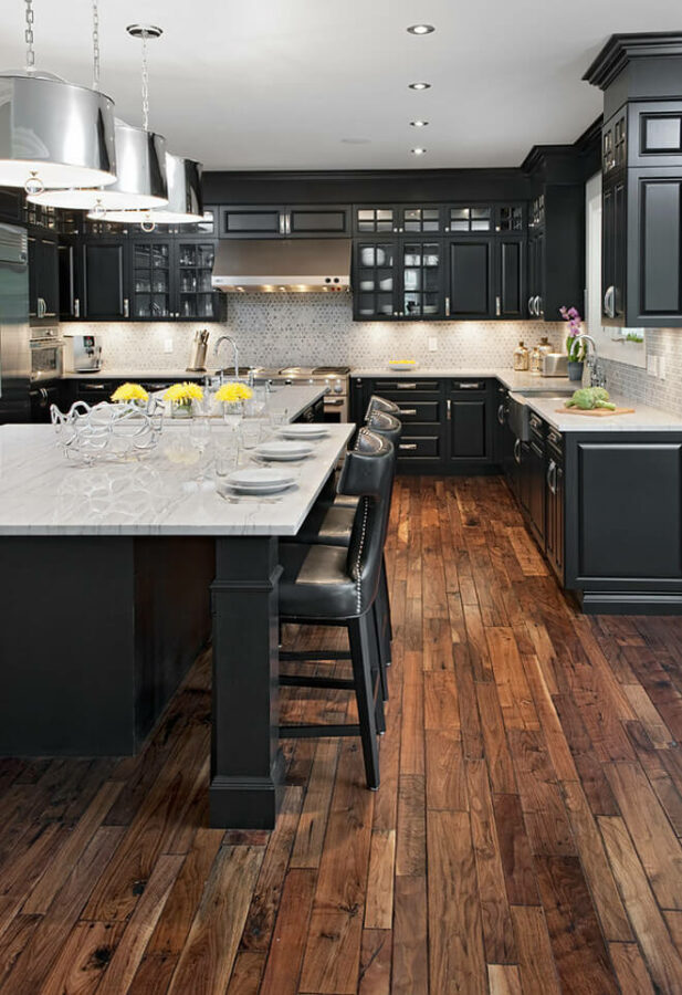 kitchen floor ideas with dark cabinets