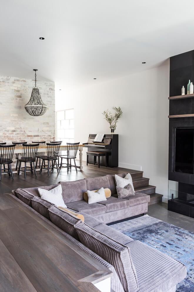 raising sunken living room with fireplace