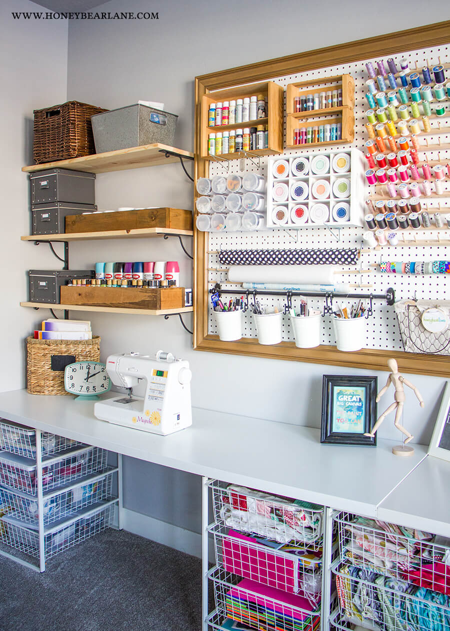 sewing room pegboard ideas