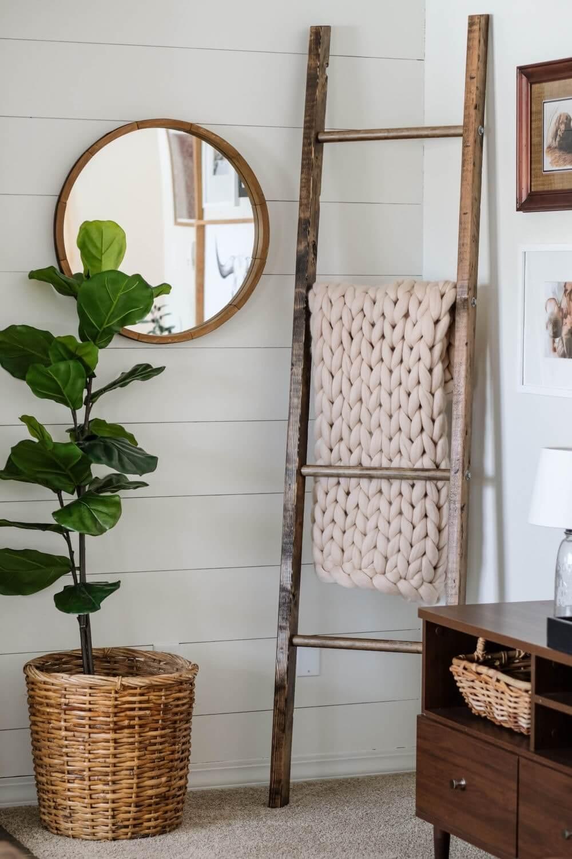 diy corner ladder shelf