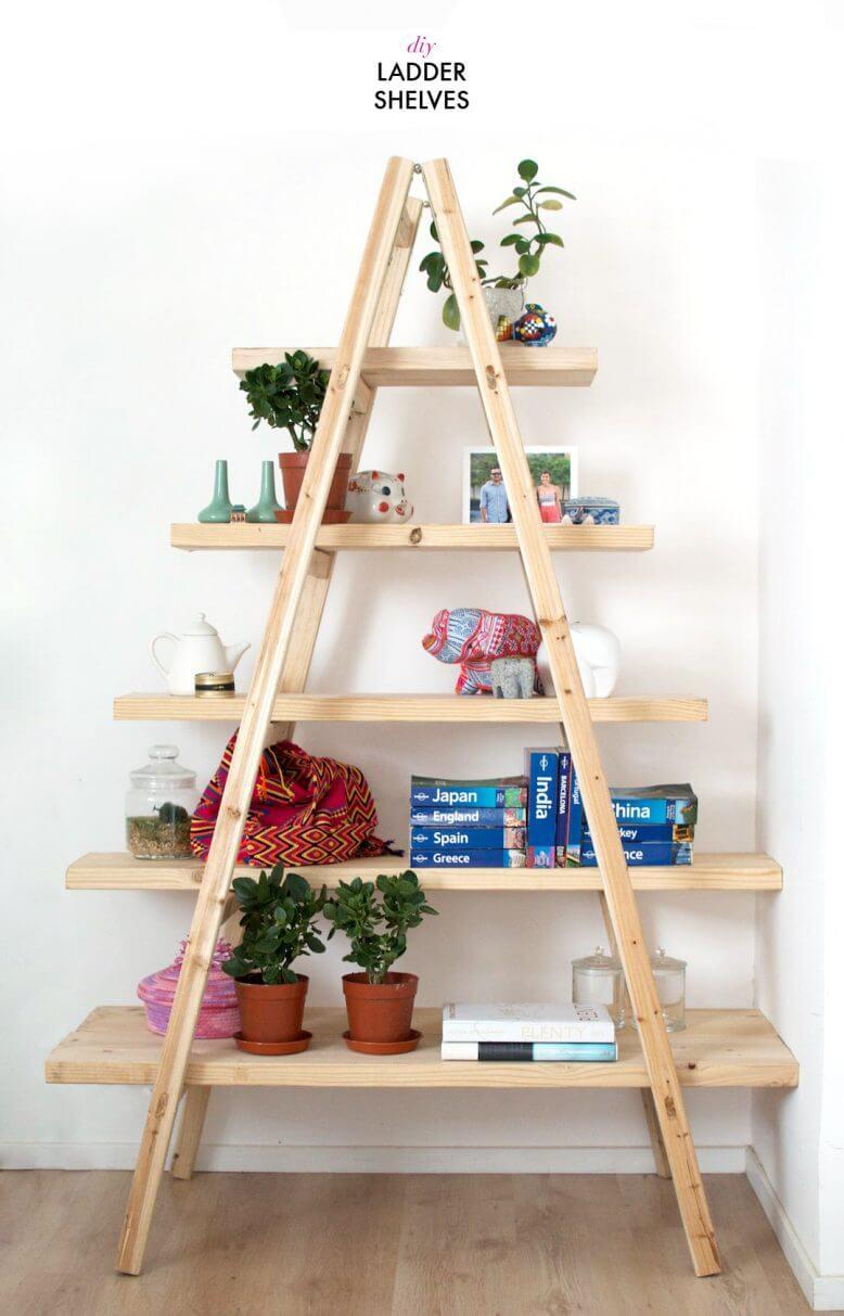 diy ladder shelf bookcase