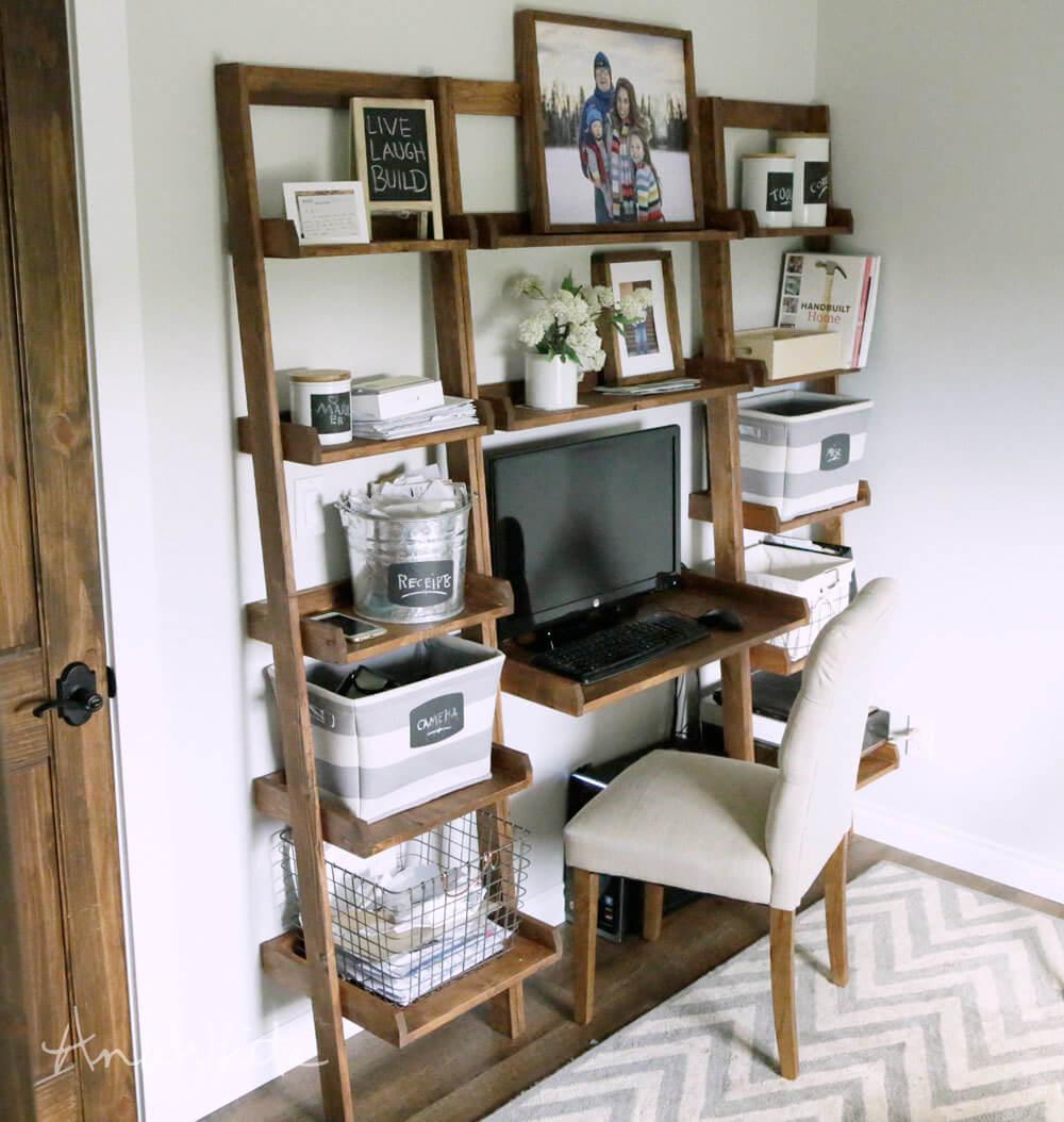 diy leaning ladder shelf