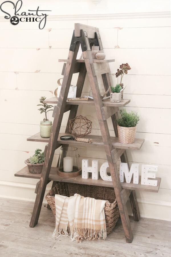 diy rustic ladder shelf