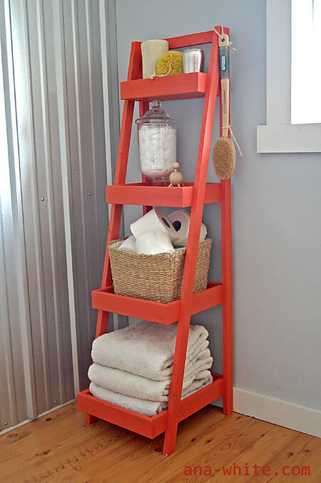 diy toilet ladder shelf