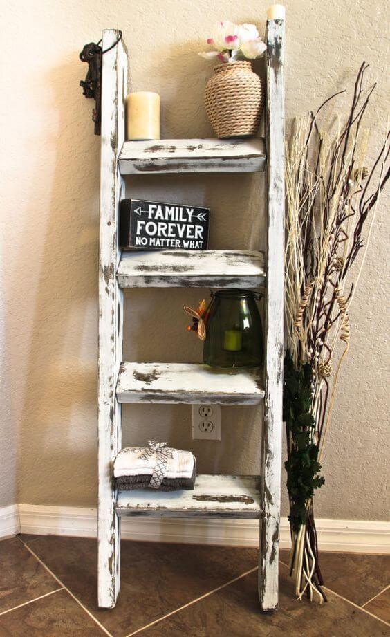 rustic wooden ladder decor