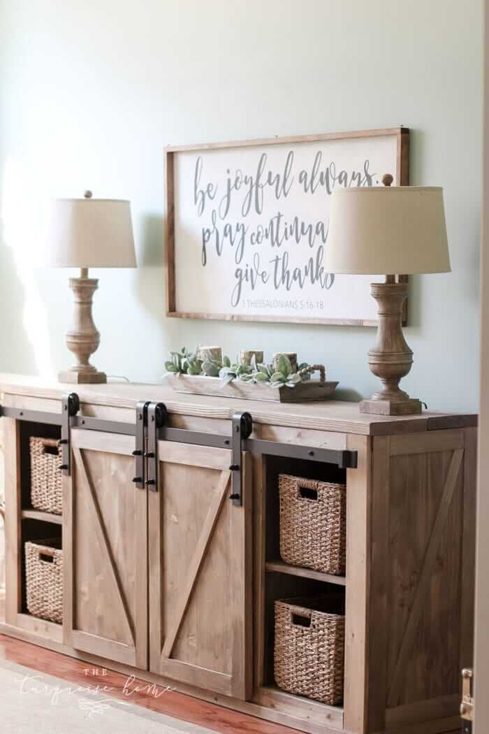 DIY Farmhouse Media Console Table