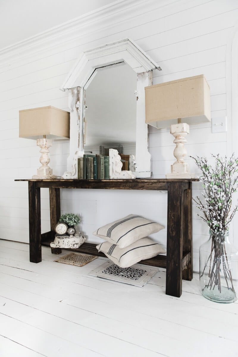 DIY Rustic Small Console Table