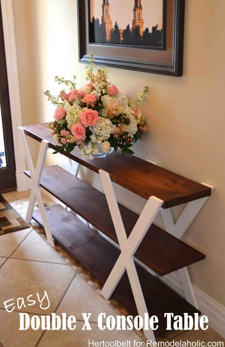 DIY double X console table.