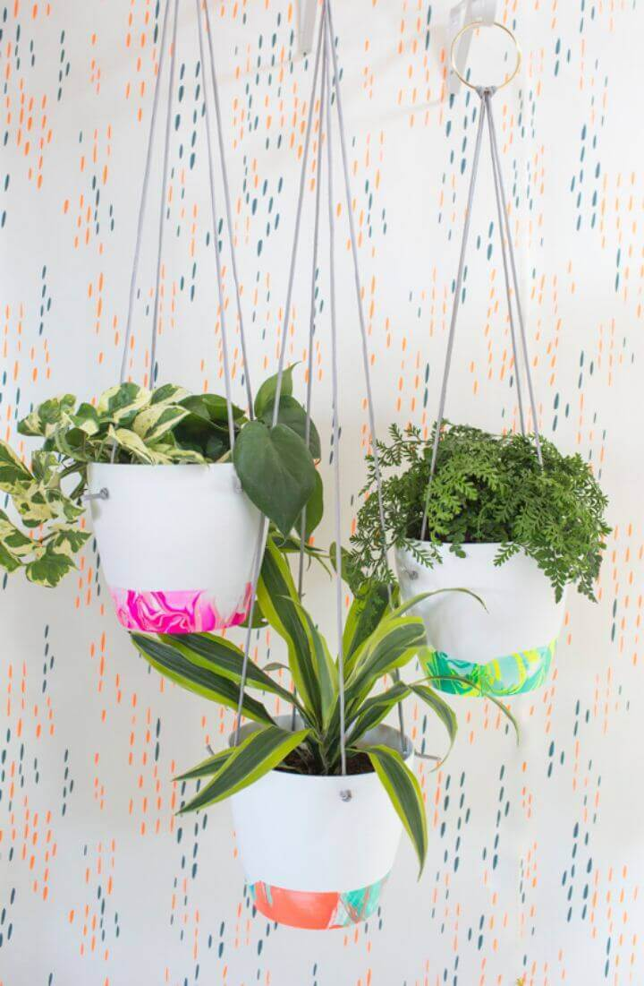 DIY marbled hanging planter
