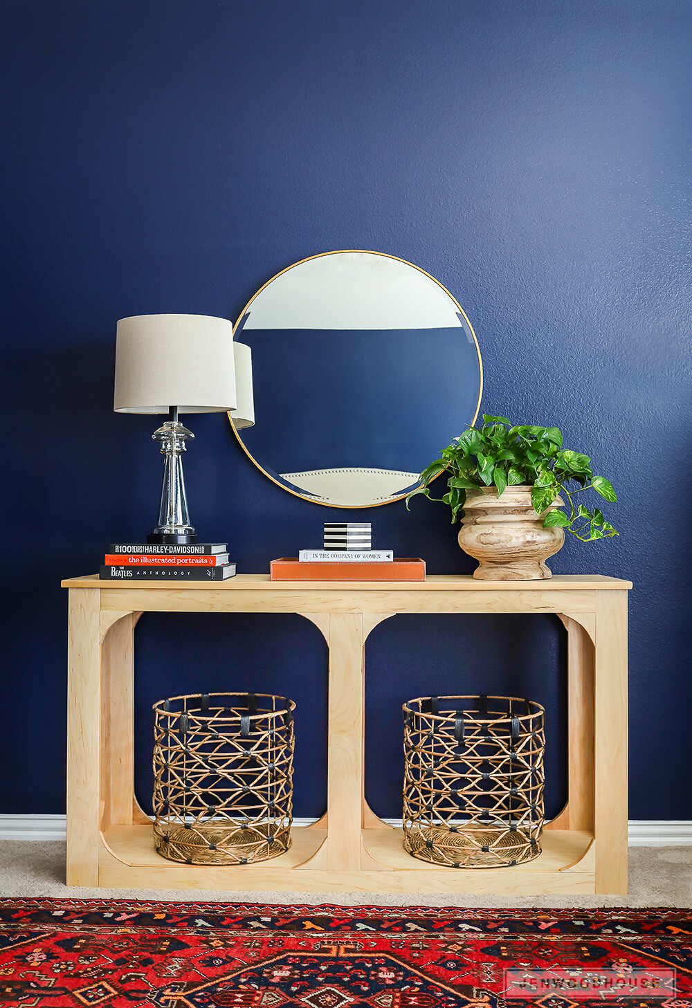 DIY plywood console table
