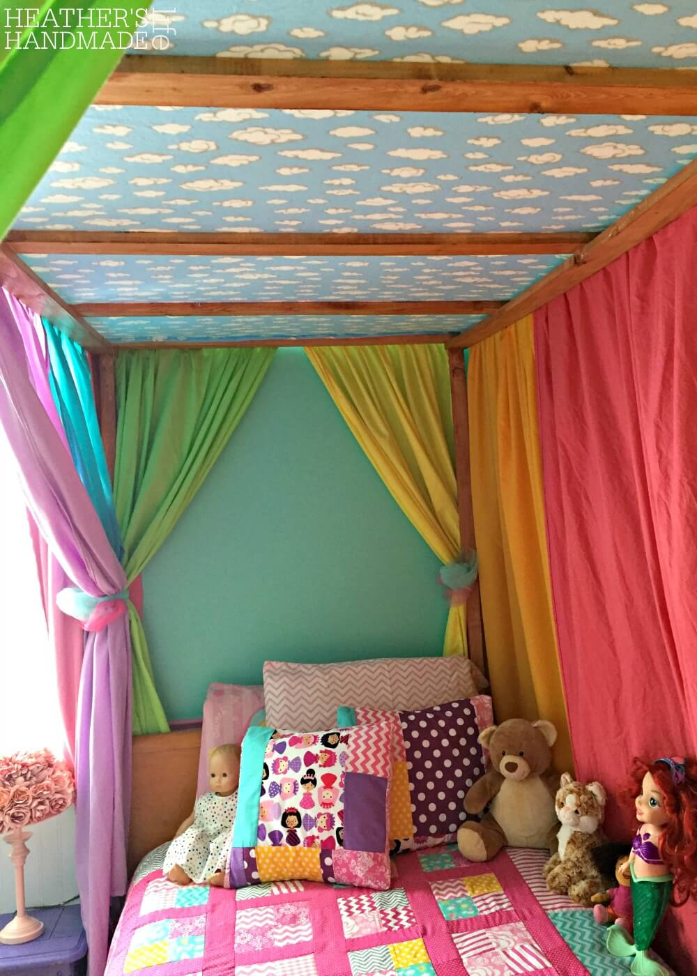 DIY rainbow canopy bed