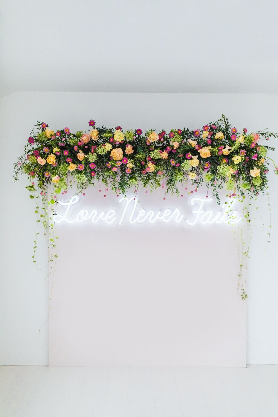 Flower Wall Floral Backdrop with Neon Sign